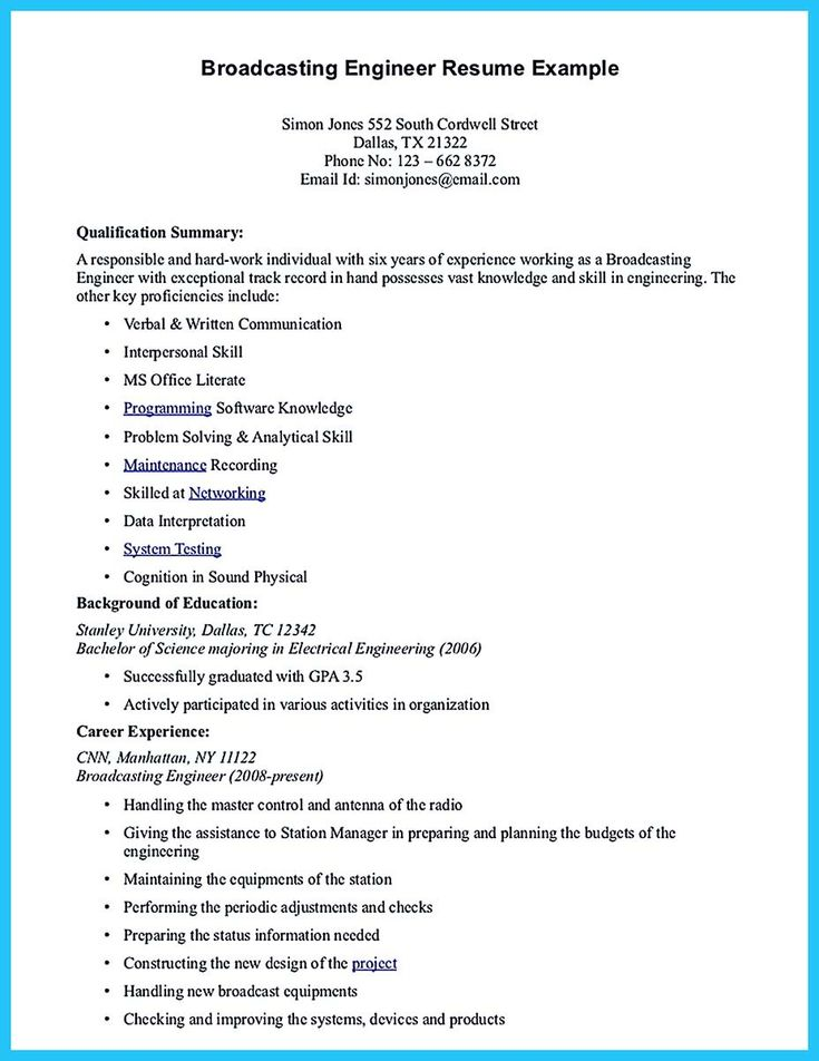 Broadcasting Engineer Resume electronics engineer resume format - International Broadcast Engineer Sample Resume