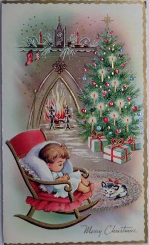 #290 50s Sweet Child Kitty Wait by the Hearth-Vintage Christmas Greeting Card