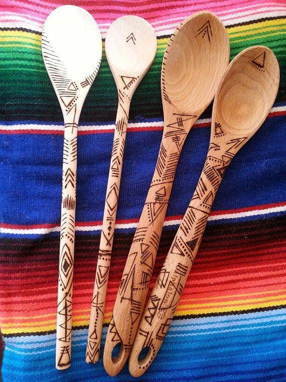 Tribal print wooden spoon- Woodburn