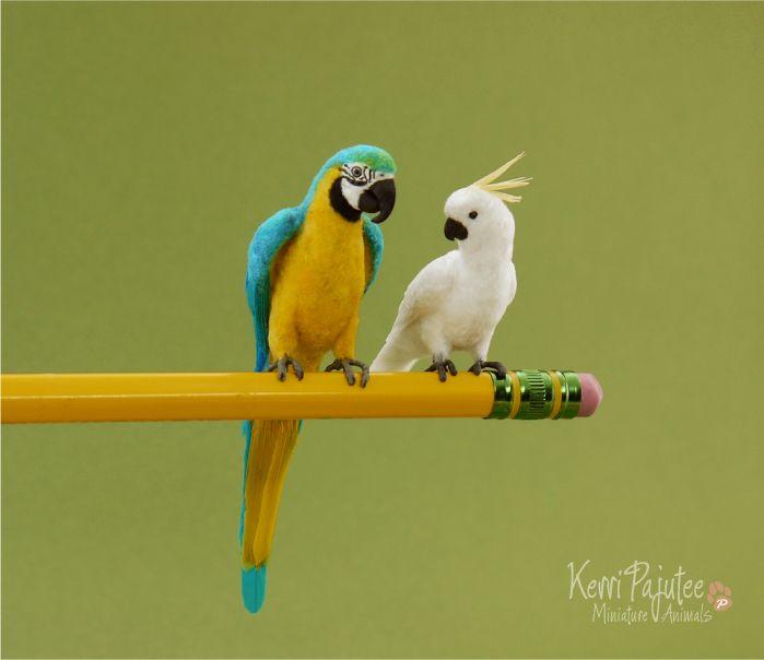 Miniature Parrot sculpts by Pajutee.deviantart.com on @deviantART
