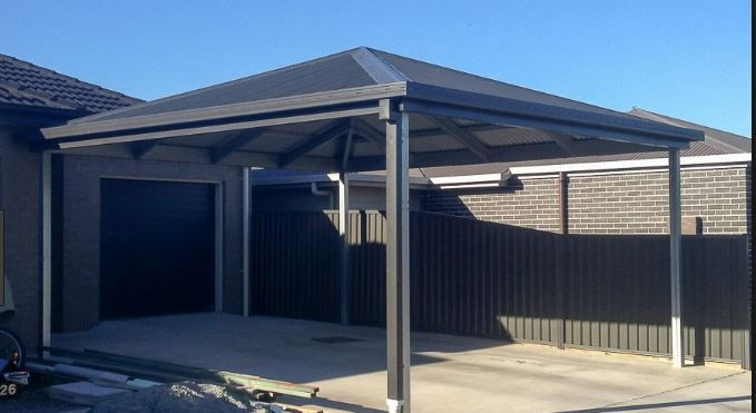 Open On All Sides Carport In A Black Colorbond Material Double Carport Carport Carport Makeover