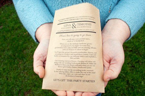 Personality Program Kraft Favor Bag with Printed Program 25
