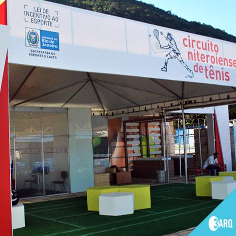 Estande criado para o Circuito Niteroiense de Tênis.