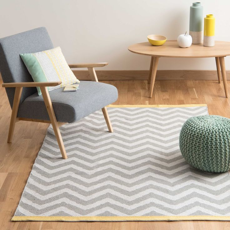 WAVE cotton low pile rug in grey 140 ...