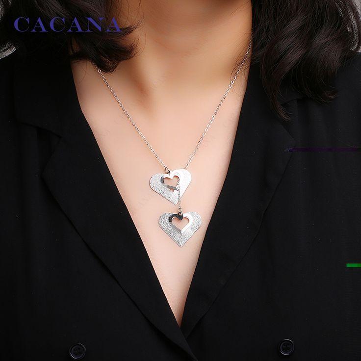 CACANA Necklace Fashion Concentric Heart Pendant Necklace 2 Colors Women Chokers Necklace Wholesale Jewelry Bijouterie N15