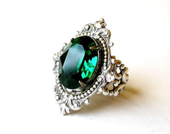 Swarovski Cocktail Ring Victorian Gothic Silver Ring Bridal Wedding Gothic Jewelry