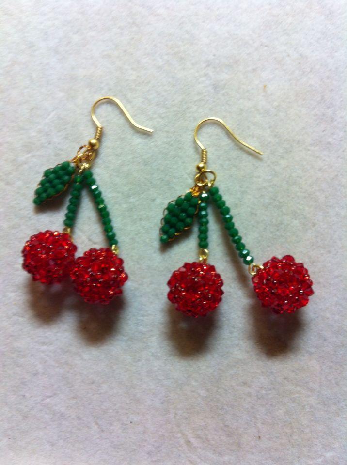 Cherry earing swarovski
