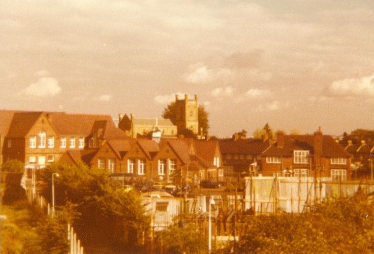 Benedict School from footbridge 1979 (Footbridge now gone)