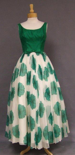 Silk 1960s evening dress gown formal full skirt white green floral silk satin top bow sleeveless long