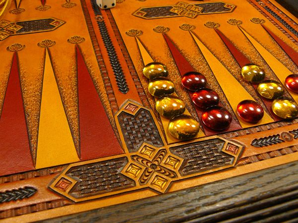 Ornamental tabletop Backgammon board, ver. 2 - Katherine Louise Leather Designs - Gallery - Leatherworker.net