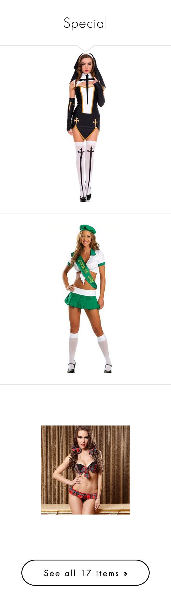 """""""Special"""" by varsityprincrss ❤ liked on Polyvore featuring costumes, black, sexy costumes, sexy halloween costumes, sexy nun halloween costume, nun costume, nun halloween costume, green, white costume and green costumes"""