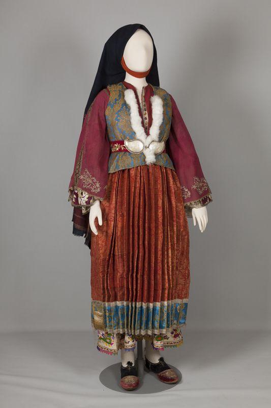 The chrysí, the bridal and festive costume of Skyros island, Sporades. Early 20th century  © Peloponnesian Folklore Foundation, Nafplion, Greece