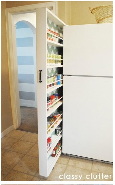 Kitchen storage for rarely used spices and cans. Make use of dead space. DIY