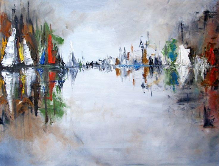 """obraz olejny na płótnie abstrakcja """"port""""  100x70 cm"""