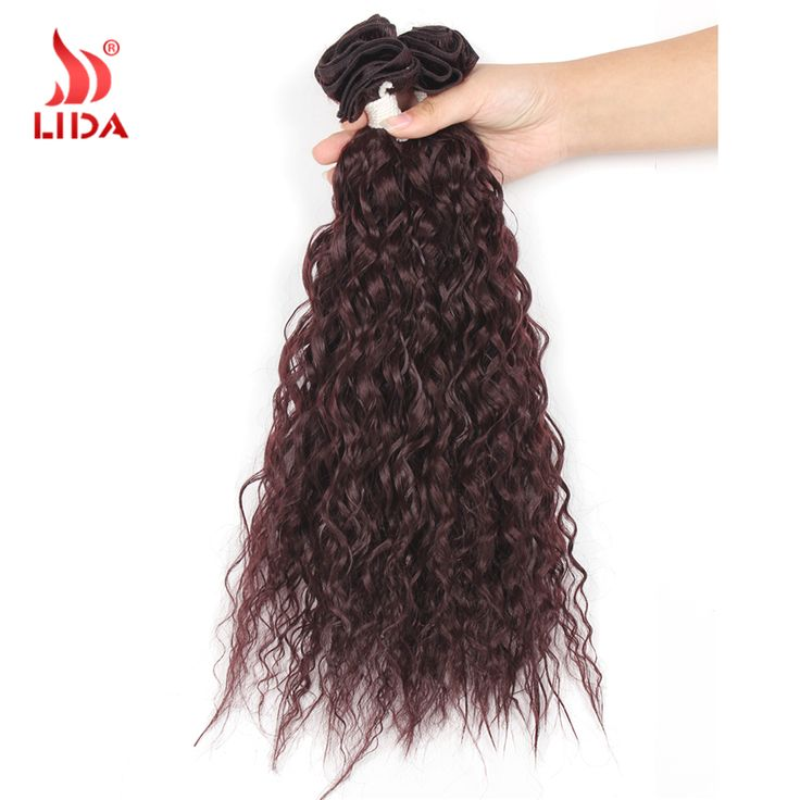 """New Charming 3pcs/lot 16''18""""20""""Pure Color Bohemain Curl Synthetic Crocheted Hair Extension Weaving Weft Jerry Curl Hair weft"""