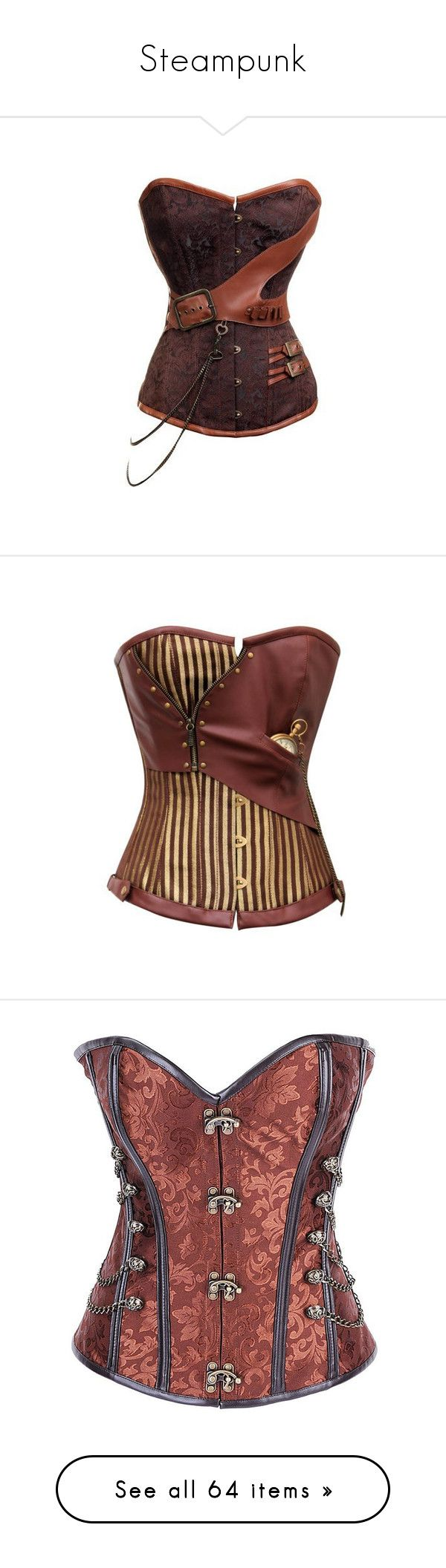 """""""Steampunk"""" by roseunspindle ❤ liked on Polyvore featuring corsets, tops, intimates, shapewear, corset, steampunk, lingerie, shirts, steam punk and blouses"""