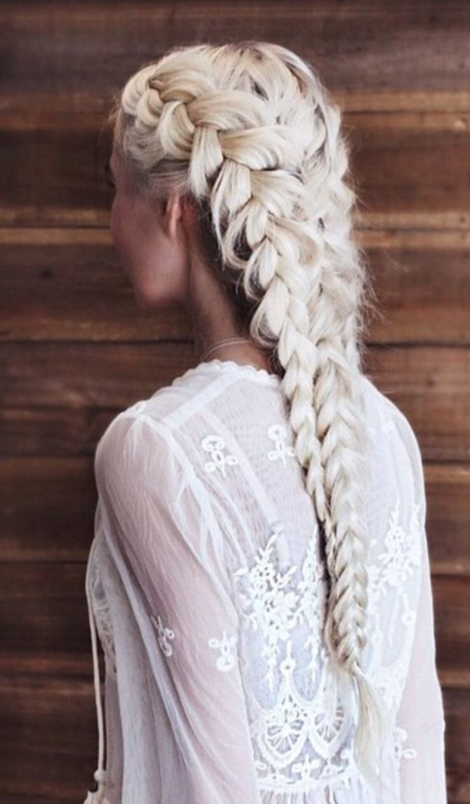 Bleach blonde French braids