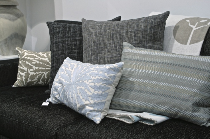 Duck egg blue and grey cushions