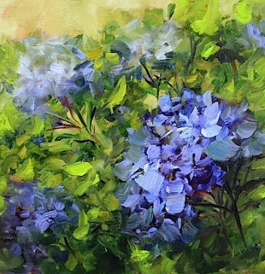 Blue Kiss Hydrangeas of the Arboretum by Texas Artist Nancy Medina, painting by artist Nancy Medina, I like to pick my favorit from Daily Painters each day and this one is realy fun. I like nice heavy brush work and lots of paint.
