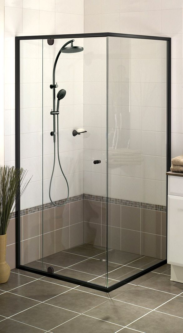 Semi Frame Less Black Shower Screen In 2019 Semi