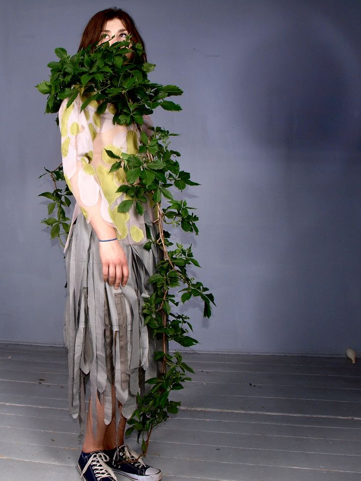 young art fashion designer emilia helena from SAPU school of design semestral work with original structure and fabric manipulation. Inspired by forest and ecology, especially with microbiology forms living on trees like lichen or moss.  Model Ksenia Komar