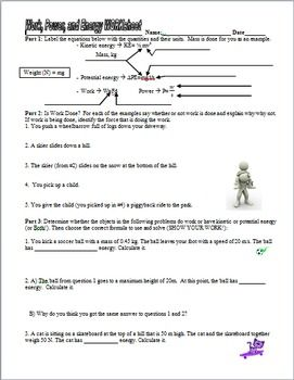 Work Power Potential And Kinetic Energy Practice Worksheet And