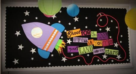 Shoot For the Moon Motivational Space Themed Bulletin Board Idea
