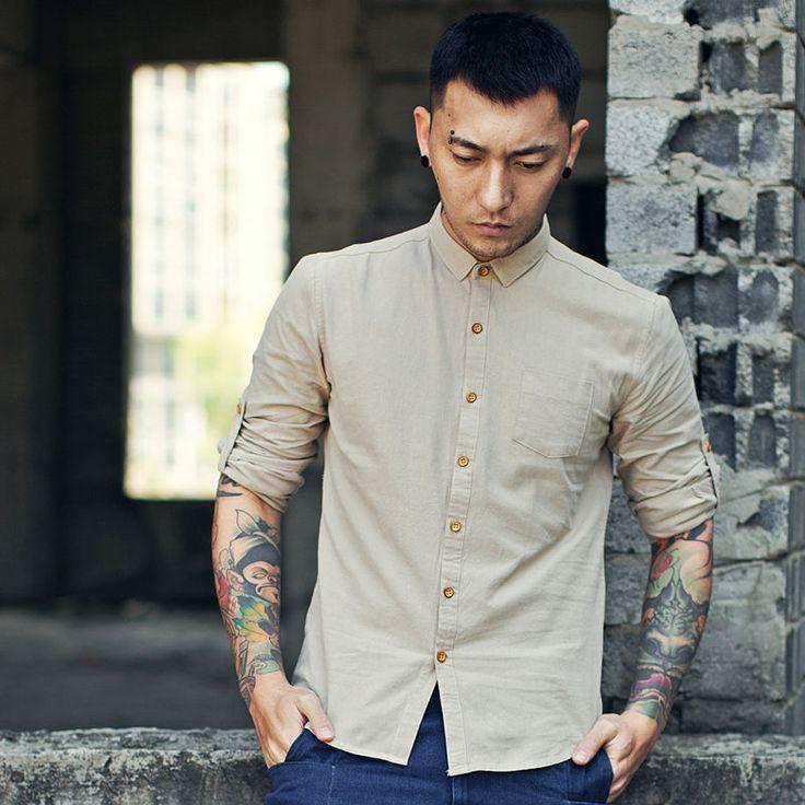 Spring Summer Linen Shirts Men Casual Chinese Style Men's Shirts Long  Sleeve Camisa Mens Clothing Slim