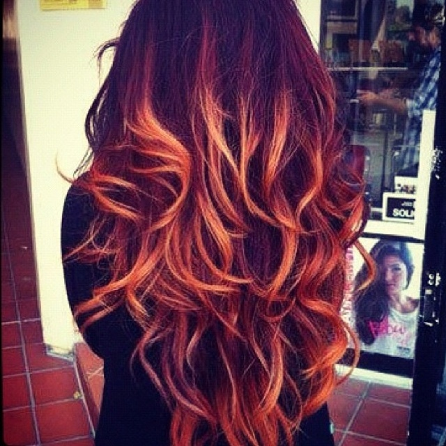 dark red hair and orange dip dye. | Locks | Pinterest | My ...