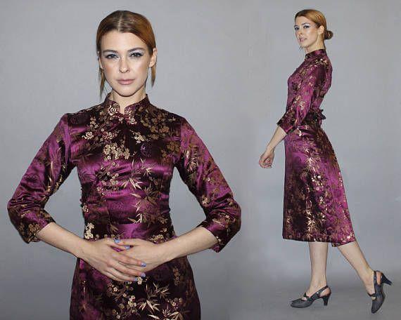 Vintage 60s 70s Cheongsam Dress / Plum Purple Gold Brocade