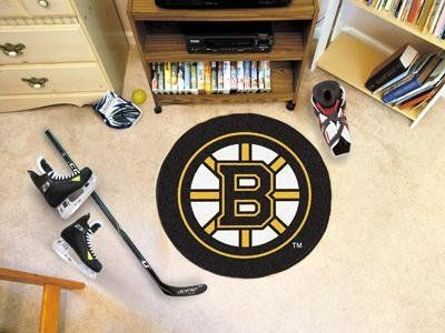 """Fan Mats 10495 NHL - Boston Bruins 29"""" Diameter Puck-Shaped Area Rug by Fanmats. Save 40 Off!. $19.85. Accent your den or fan cave with this NHL® puck-shaped floor mat from Fanmats®. It features a durable nylon construction, boasts non-skid Duragon® latex backing for safety, and is Chromojet-painted with the team logo."""