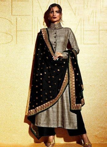 Grey & Black Salwar Kameez In Khadi