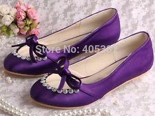 Beaded Purple Wedding Shoes Bridal Shoes Ballet Flats Size 7