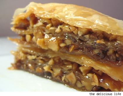 One of my favorite desserts...Baklava...Greek....Google Image Result for http://www.blogcdn.com/www.slashfood.com/media/2007/12/baklava.jpg