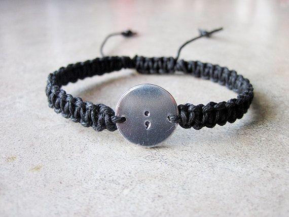 Semicolon Bracelet - Jewelry Gift for Friend by HighonHemp