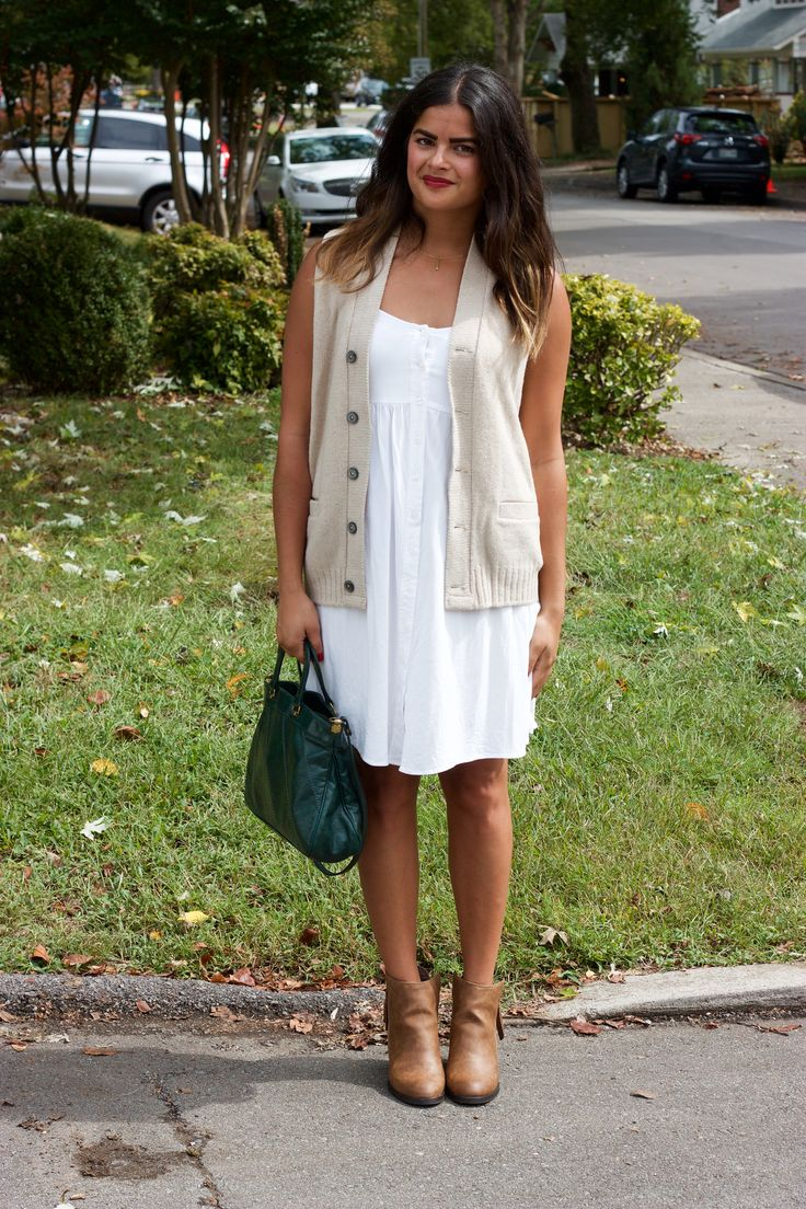 Fall outfit! Vintage sweater vest + ASOS white dress + brown Target booties + vintage emerald green purse.