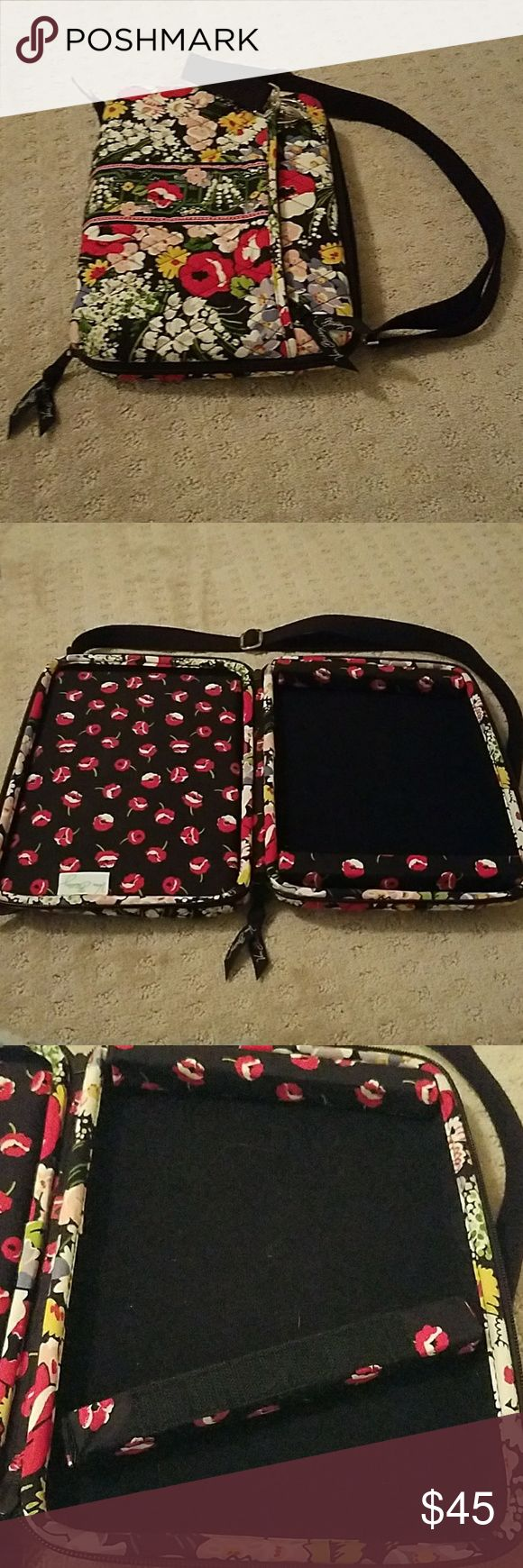 Vera Bradley tablet case Purchase this Vera Bradley tablet bag at the Vera Bradley store. It has removable foam supports on the inside. It is an excellent condition. The strap can be removed and it has two pouches on the outside. One is it one is not. Padded for extra protection Vera Bradley Accessories Tablet Cases