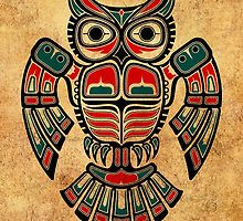 Red and Teal Blue Haida Spirit Owl by jeff bartels
