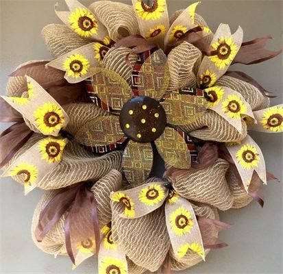 """28"""", Custom Order Sunflower 3-D Burlap Mesh Wreath with Yellow & Brown Accent Ribbons: Reg $65. 1 Left to Make. Made by Red-y Made Wreaths. Like & Follow us on Facebook https://www.facebook.com/pages/Red-y-Made-Wreaths/193750437415618 or Visit us at http://www.redymadewreaths.com/"""