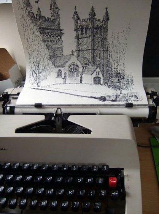 Obra realizada con una máquina de escribir | Fuente Facebook Faber-Castell Argentina #Draw #Drawing