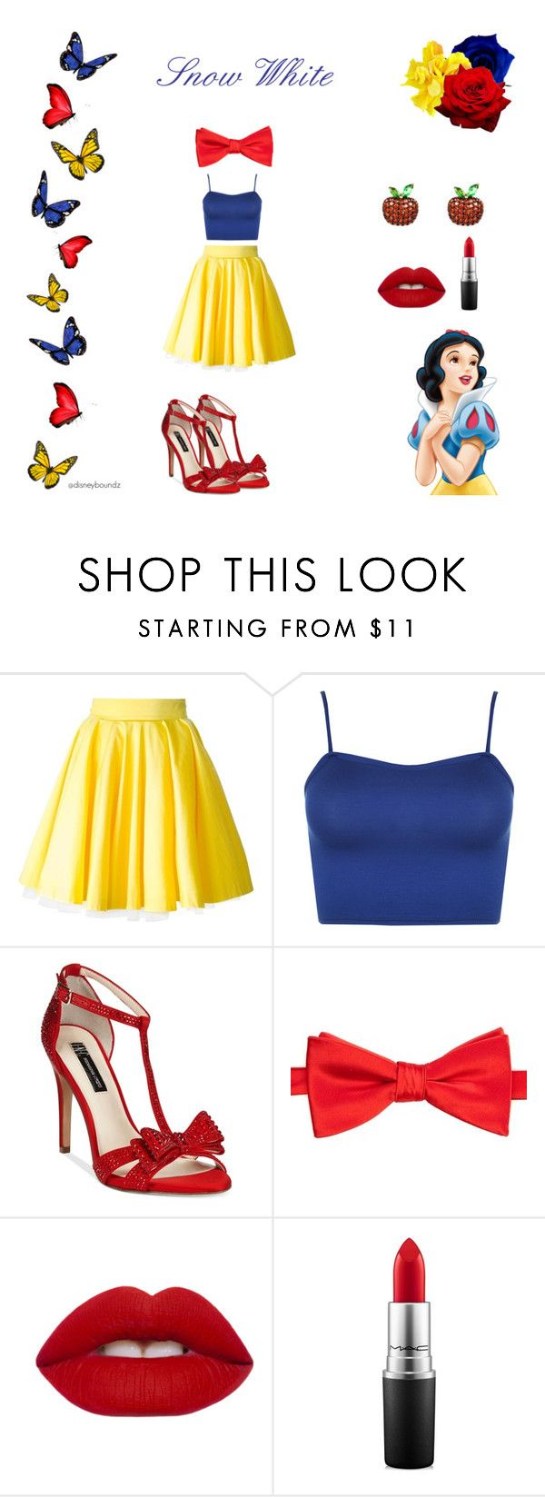 """Snow White"" by disneyboundz ❤ liked on Polyvore featuring Philipp Plein, WearAll, INC International Concepts, Saddlebred, Lime Crime, MAC Cosmetics, disney, snowwhite, disneybound and snowwhitedisneybound"