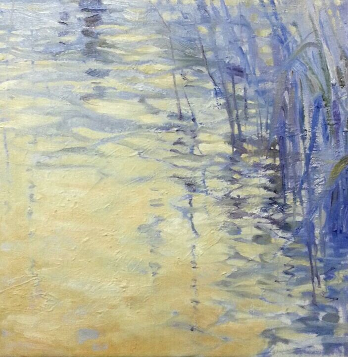 """Opposites Attract"" impressionist landscape oil painting by Heidi Hjort. Experimenting with complementary colors. Yellow and Violet. Read about my mini series in this blog post."