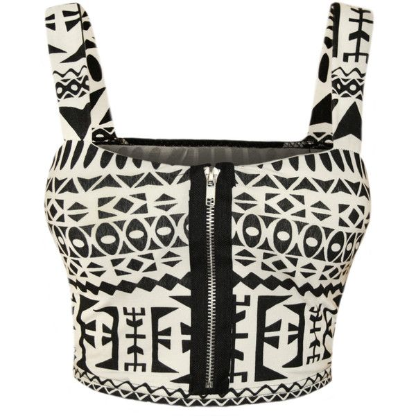Maura Aztec Print Bralet ($17) ❤ liked on Polyvore featuring tops, shirts, crop top, big aztec, summer tops, white top, white crop shirt and zipper crop top