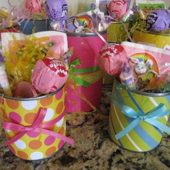 """EASTER """"baskets"""" - paper & ribbons around tin cans (one for each kiddo?)"""