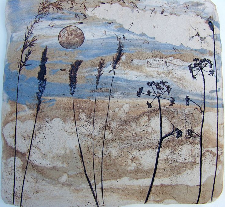 Ceramic wall art-from unglazed natural and stained clays
