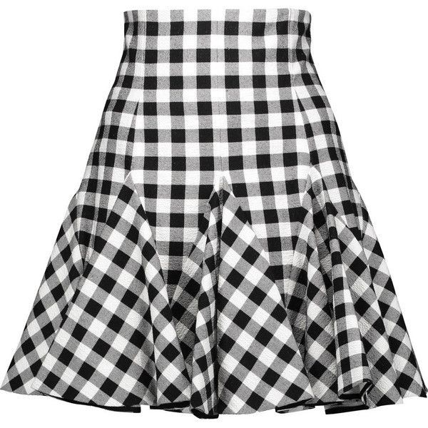 Dolce & Gabbana - Ruffled Gingham Cotton Mini Skirt (€605) ❤ liked on Polyvore featuring skirts, mini skirts, gingham, saias, black, patterned skirts, frilly skirt, cotton mini skirt, patterned mini skirt and mini skirt
