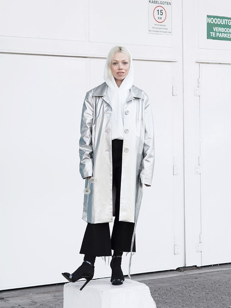 Silver trench, socks and sandals / Love Aesthetics