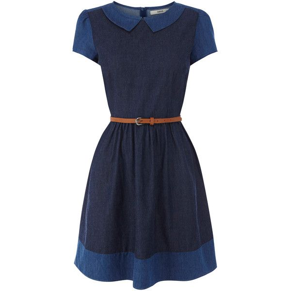 OASIS Olivia Patched Dress (€61) ❤ liked on Polyvore featuring dresses, vestidos, denim, peter pan collar dress, day dresses, cap sleeve skater dress, oasis dress and waist belt dress