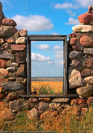 Like a painting on a wall, this prairie scene is perfectly framed in the ruins…