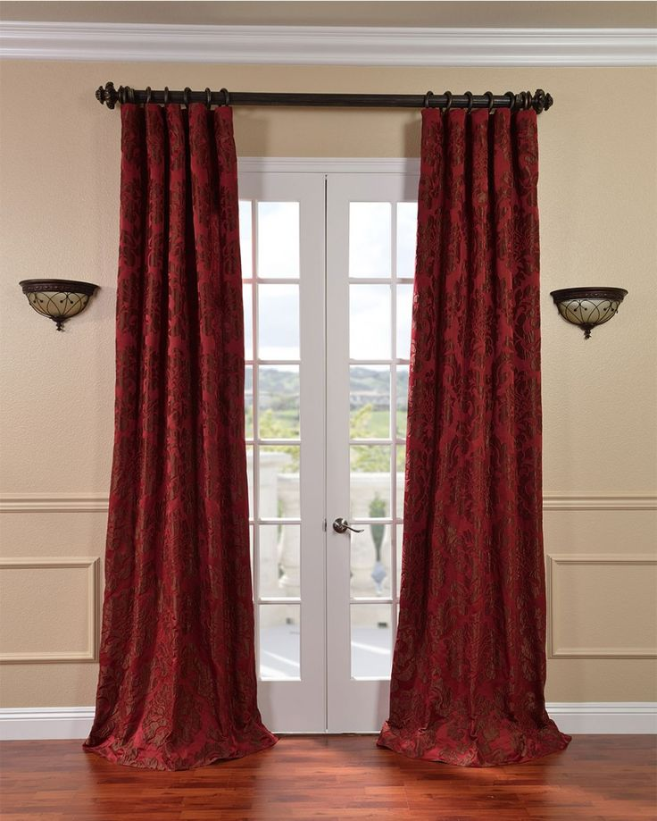 Update Your Windows With The Opulent Touch Of Red Faux Silk Curtains. These  Textured Jacquard Curtain Panels With Pole Pocket For Curtain Rod Hanging  ... Part 44